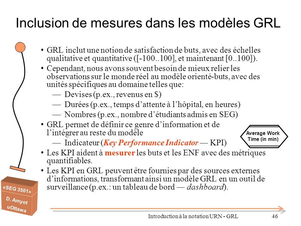 «SEG 3501» D. Amyot uOttawa Inclusion de mesures dans les modèles GRL GRL inclut une notion de satisfaction de buts, avec des échelles qualitative et