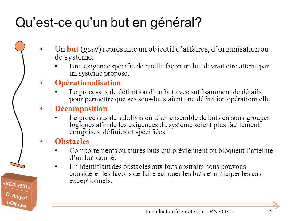 «SEG 3501» D. Amyot uOttawa Qu'est-ce qu'un but en général? Un but (goal) représente un objectif d'affaires, d'organisation ou de système. Une exigenc
