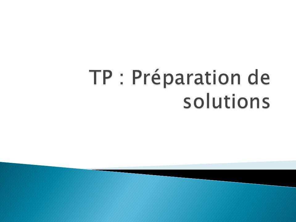  Une solution est constituée d'un solvant et d'un soluté.