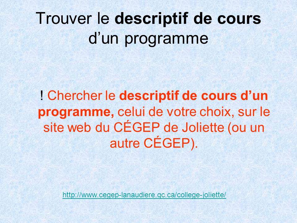Trouver le descriptif de cours d'un programme .