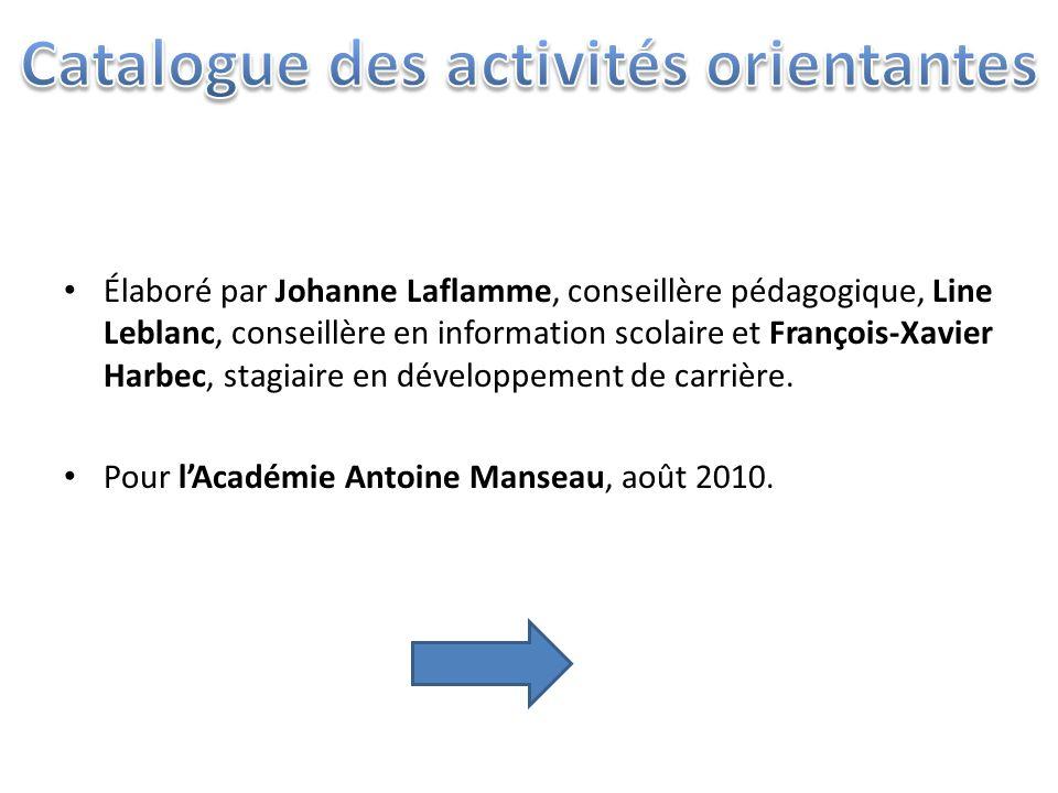Élaboré par Johanne Laflamme, conseillère pédagogique, Line Leblanc, conseillère en information scolaire et François-Xavier Harbec, stagiaire en développement de carrière.