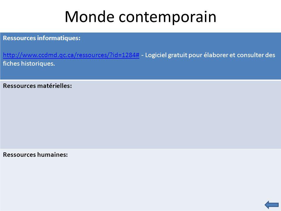 Monde contemporain Ressources informatiques: http://www.ccdmd.qc.ca/ressources/?id=1284#http://www.ccdmd.qc.ca/ressources/?id=1284# - Logiciel gratuit pour élaborer et consulter des fiches historiques.