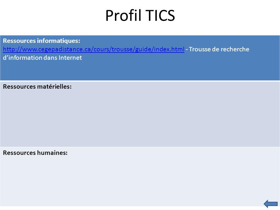 Profil TICS Ressources informatiques: http://www.cegepadistance.ca/cours/trousse/guide/index.htmlhttp://www.cegepadistance.ca/cours/trousse/guide/index.html - Trousse de recherche d'information dans Internet Ressources matérielles: Ressources humaines: