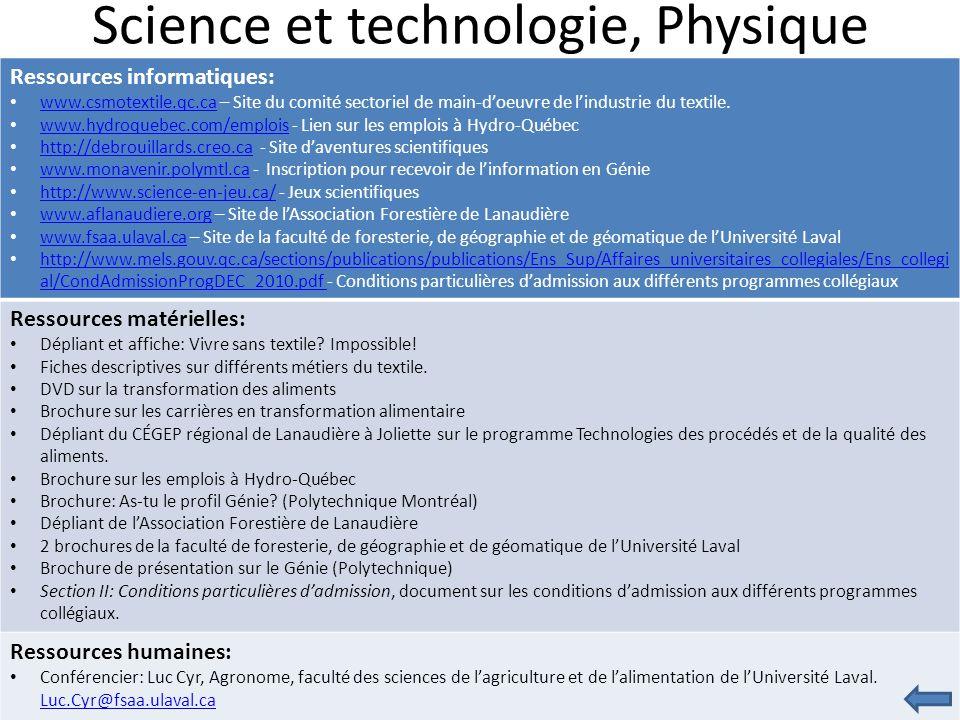 Science et technologie, Physique Ressources informatiques: www.csmotextile.qc.ca – Site du comité sectoriel de main-d'oeuvre de l'industrie du textile.