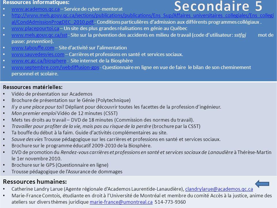 Ressources informatiques: www.academos.qc.ca – Service de cyber-mentorat www.academos.qc.ca http://www.mels.gouv.qc.ca/sections/publications/publications/Ens_Sup/Affaires_universitaires_collegiales/Ens_collegi al/CondAdmissionProgDEC_2010.pdf - Conditions particulières d'admission aux différents programmes collégiaux.