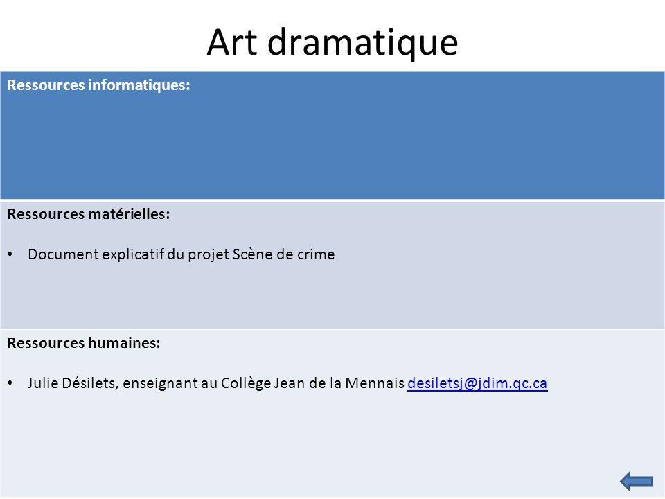 Art dramatique Ressources informatiques: Ressources matérielles: Document explicatif du projet Scène de crime Ressources humaines: Julie Désilets, enseignant au Collège Jean de la Mennais desiletsj@jdim.qc.cadesiletsj@jdim.qc.ca