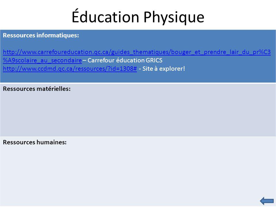 Éducation Physique Ressources informatiques: http://www.carrefoureducation.qc.ca/guides_thematiques/bouger_et_prendre_lair_du_pr%C3 %A9scolaire_au_secondairehttp://www.carrefoureducation.qc.ca/guides_thematiques/bouger_et_prendre_lair_du_pr%C3 %A9scolaire_au_secondaire – Carrefour éducation GRICS http://www.ccdmd.qc.ca/ressources/ id=1308#http://www.ccdmd.qc.ca/ressources/ id=1308# - Site à explorer.