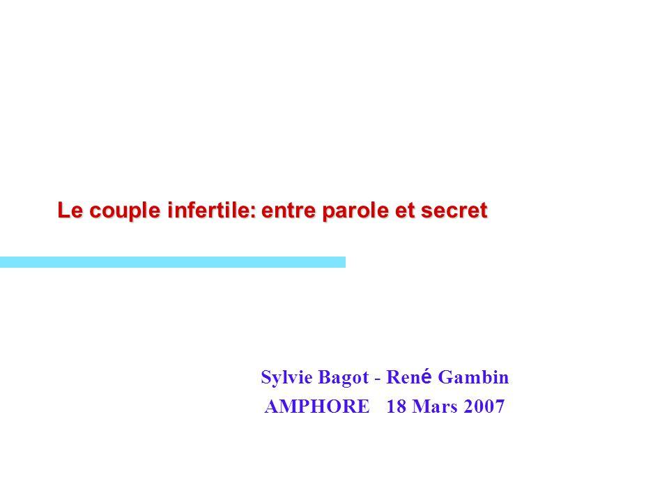 Le couple infertile: entre parole et secret Sylvie Bagot - Ren é Gambin AMPHORE 18 Mars 2007
