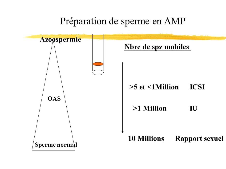 Azoospermie Sperme normal OAS Préparation de sperme en AMP Nbre de spz mobiles 10 Millions Rapport sexuel >1 Million IU >5 et <1Million ICSI