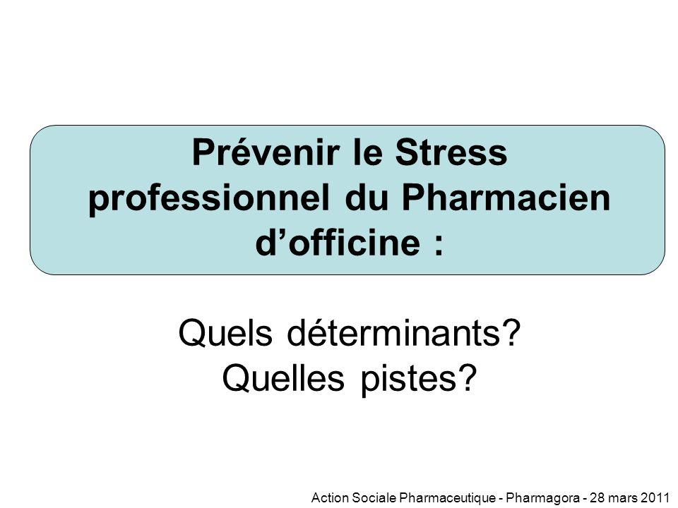Prévenir le Stress professionnel du Pharmacien d'officine : Quels déterminants.