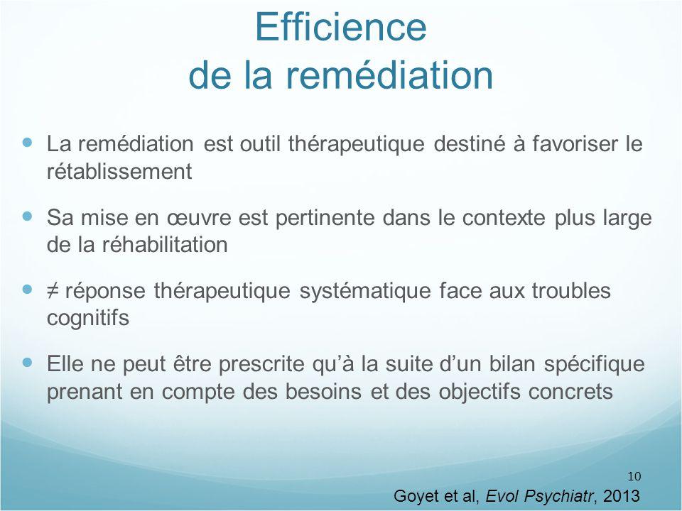 10 Efficience de la remédiation La remédiation est outil thérapeutique destiné à favoriser le rétablissement Sa mise en œuvre est pertinente dans le c