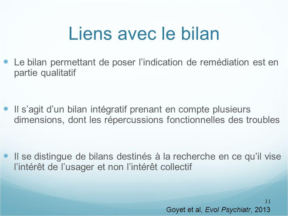 11 Liens avec le bilan Le bilan permettant de poser l'indication de remédiation est en partie qualitatif Il s'agit d'un bilan intégratif prenant en co