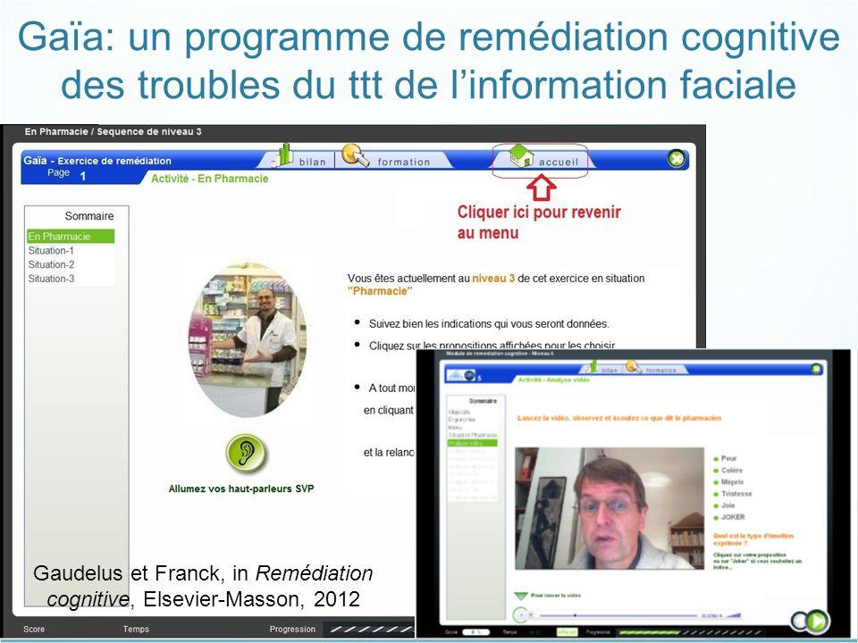 16 Gaudelus et al, 2012 Gaïa: un programme de remédiation cognitive des troubles du ttt de l'information faciale Gaudelus et Franck, in Remédiation co