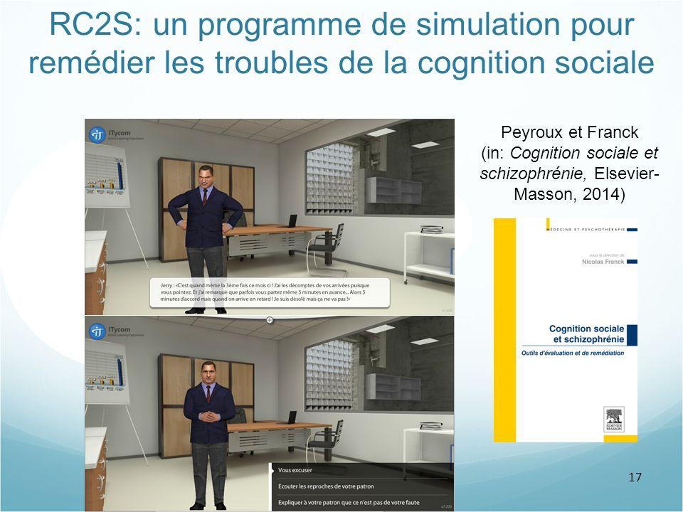 17 RC2S: un programme de simulation pour remédier les troubles de la cognition sociale Peyroux et Franck (in: Cognition sociale et schizophrénie, Else