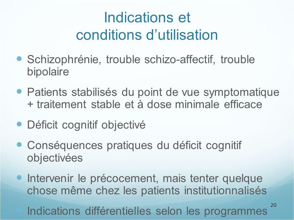 20 Indications et conditions d'utilisation Schizophrénie, trouble schizo-affectif, trouble bipolaire Patients stabilisés du point de vue symptomatique