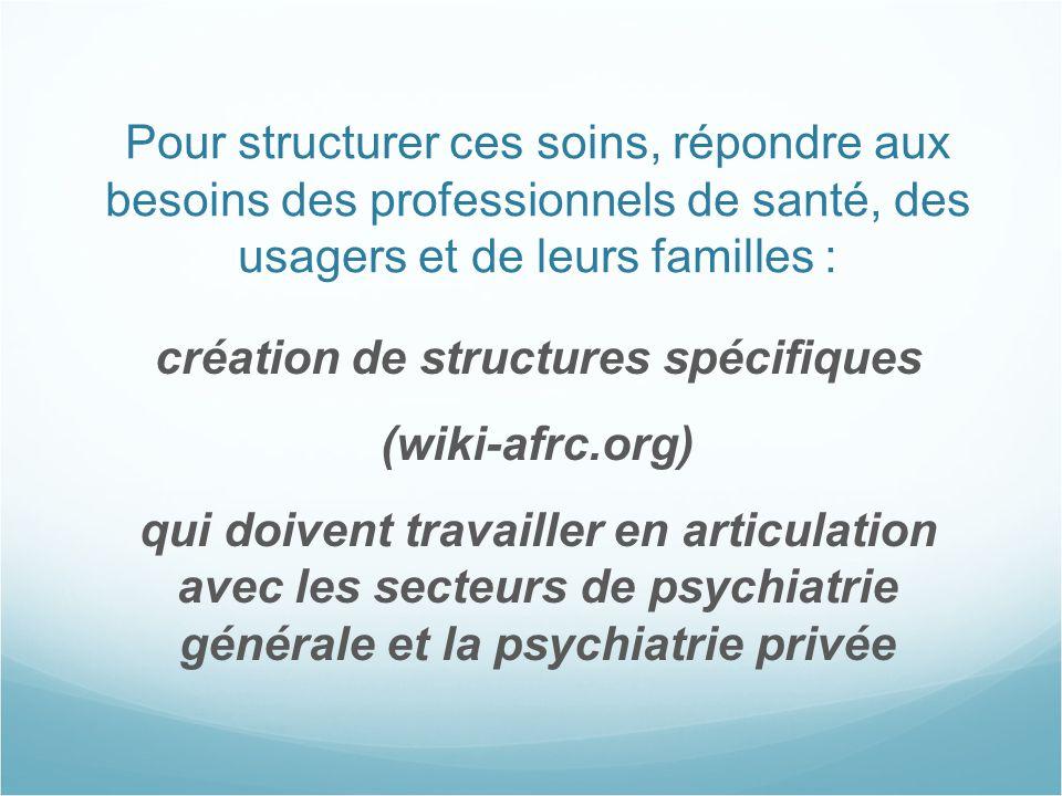 Pour structurer ces soins, répondre aux besoins des professionnels de santé, des usagers et de leurs familles : création de structures spécifiques (wi