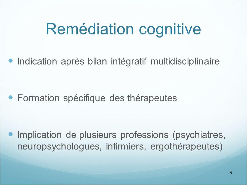 9 Remédiation cognitive Indication après bilan intégratif multidisciplinaire Formation spécifique des thérapeutes Implication de plusieurs professions