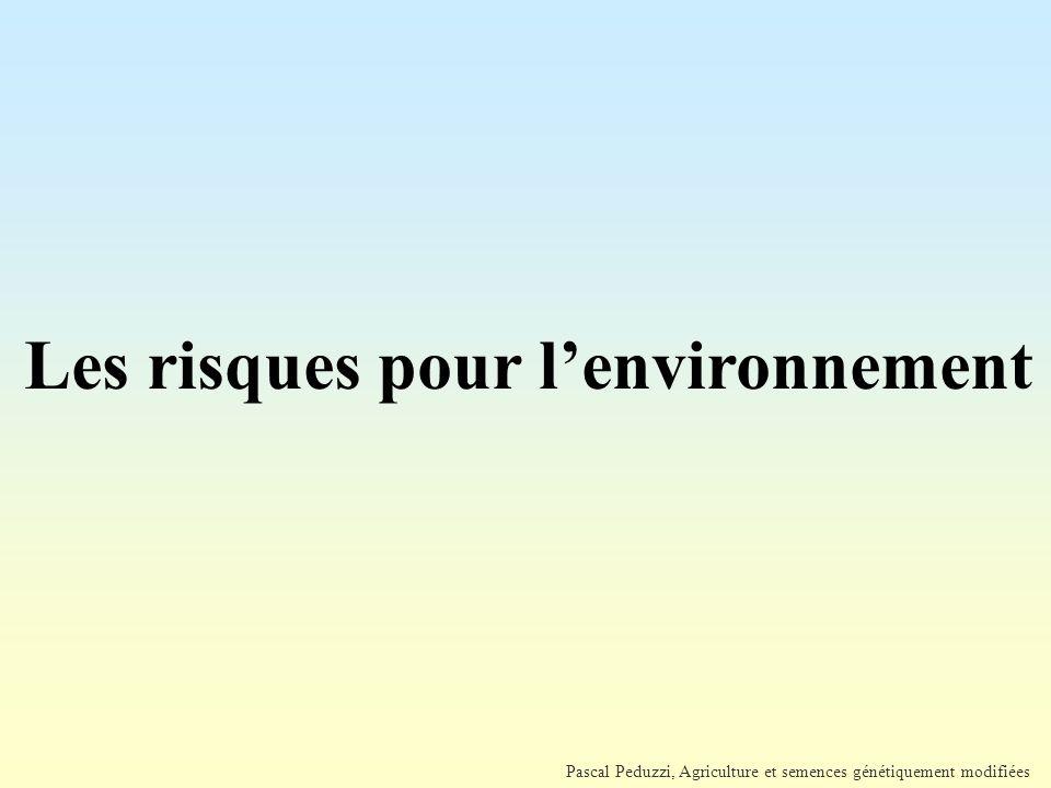 Pascal Peduzzi, Agriculture et semences génétiquement modifiées Les risques pour l'environnement