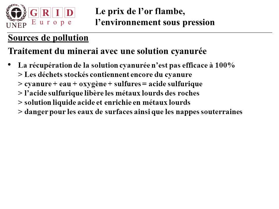 Le prix de l'or flambe, l'environnement sous pression Sources de pollution Traitement du minerai avec une solution cyanurée La récupération de la solu