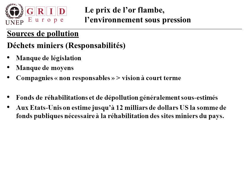 Le prix de l'or flambe, l'environnement sous pression Sources de pollution Déchets miniers (Responsabilités) Manque de législation Manque de moyens Co