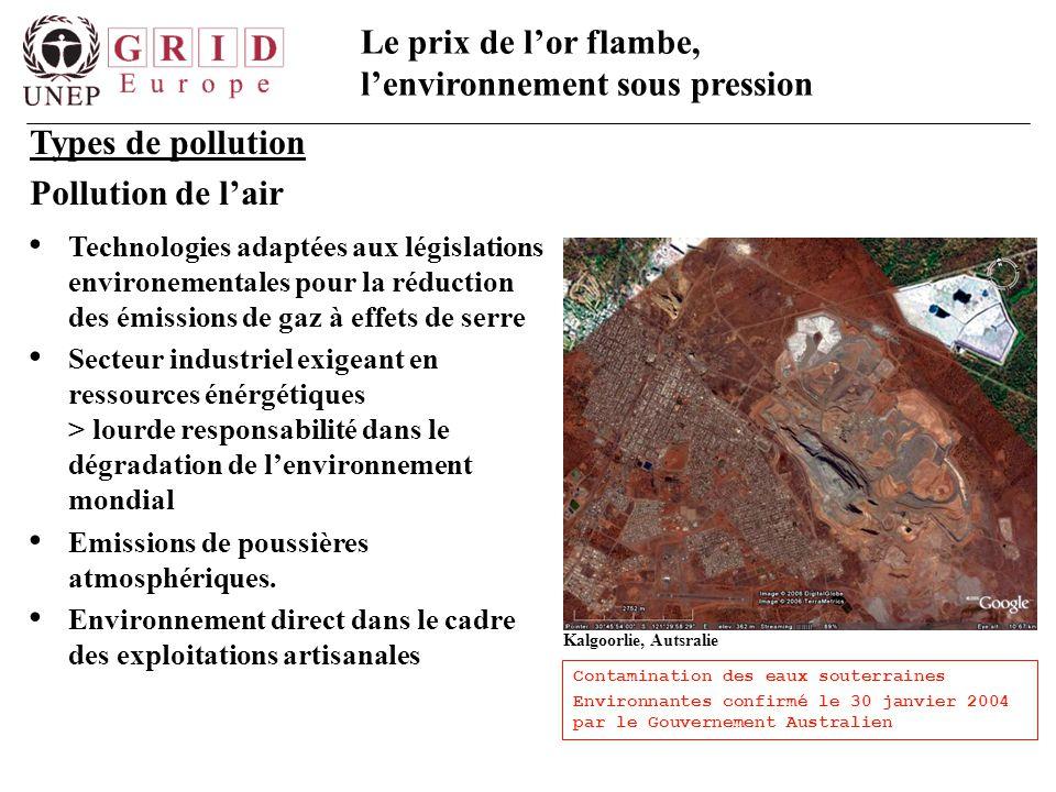 Le prix de l'or flambe, l'environnement sous pression Types de pollution Pollution de l'air Technologies adaptées aux législations environementales po