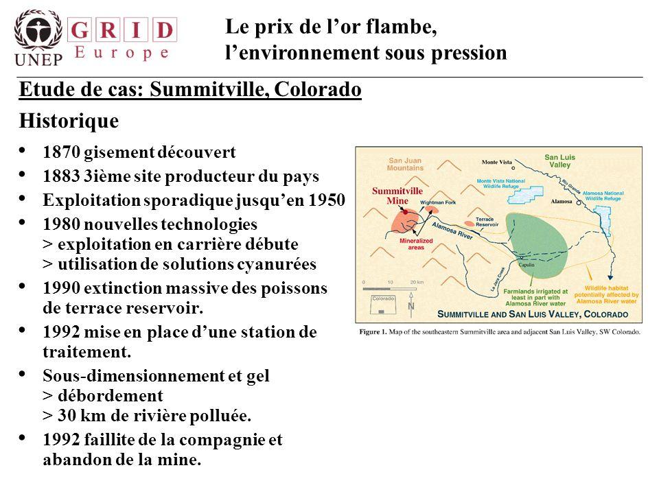 Le prix de l'or flambe, l'environnement sous pression 1870 gisement découvert 1883 3ième site producteur du pays Exploitation sporadique jusqu'en 1950