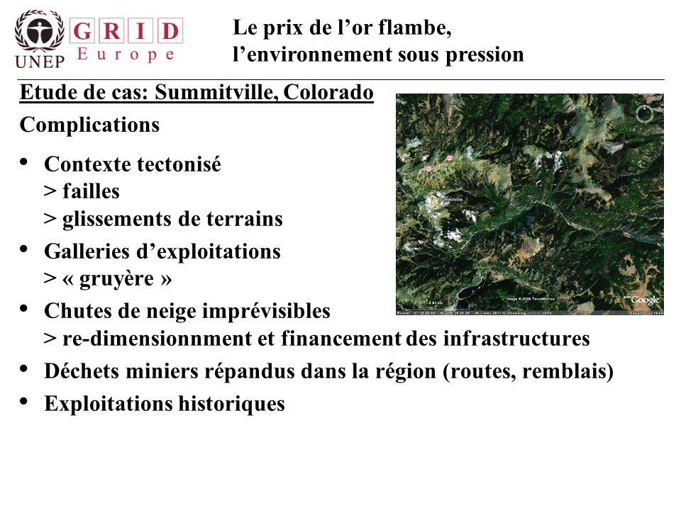 Le prix de l'or flambe, l'environnement sous pression Contexte tectonisé > failles > glissements de terrains Galleries d'exploitations > « gruyère » C