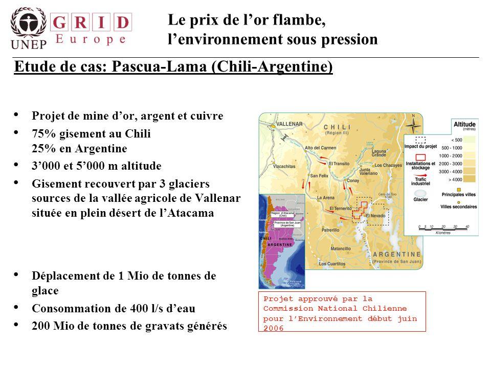 Le prix de l'or flambe, l'environnement sous pression Projet de mine d'or, argent et cuivre 75% gisement au Chili 25% en Argentine 3'000 et 5'000 m al