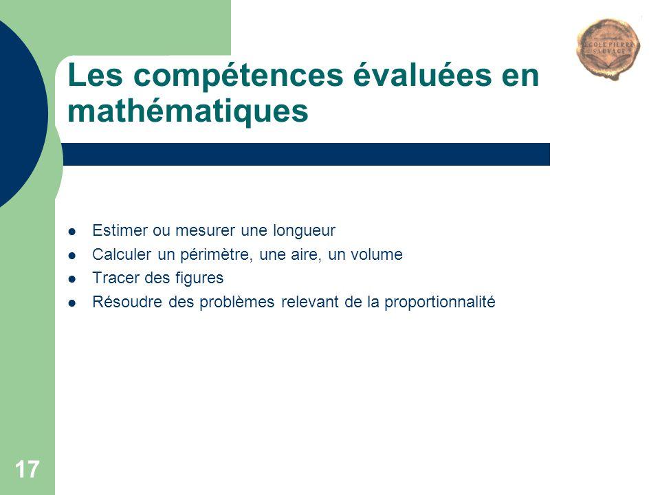 Les compétences évaluées en mathématiques Estimer ou mesurer une longueur Calculer un périmètre, une aire, un volume Tracer des figures Résoudre des p