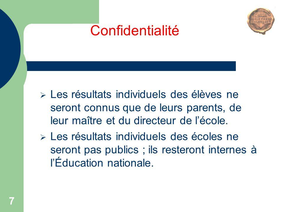 7  Les résultats individuels des élèves ne seront connus que de leurs parents, de leur maître et du directeur de l'école.  Les résultats individuels