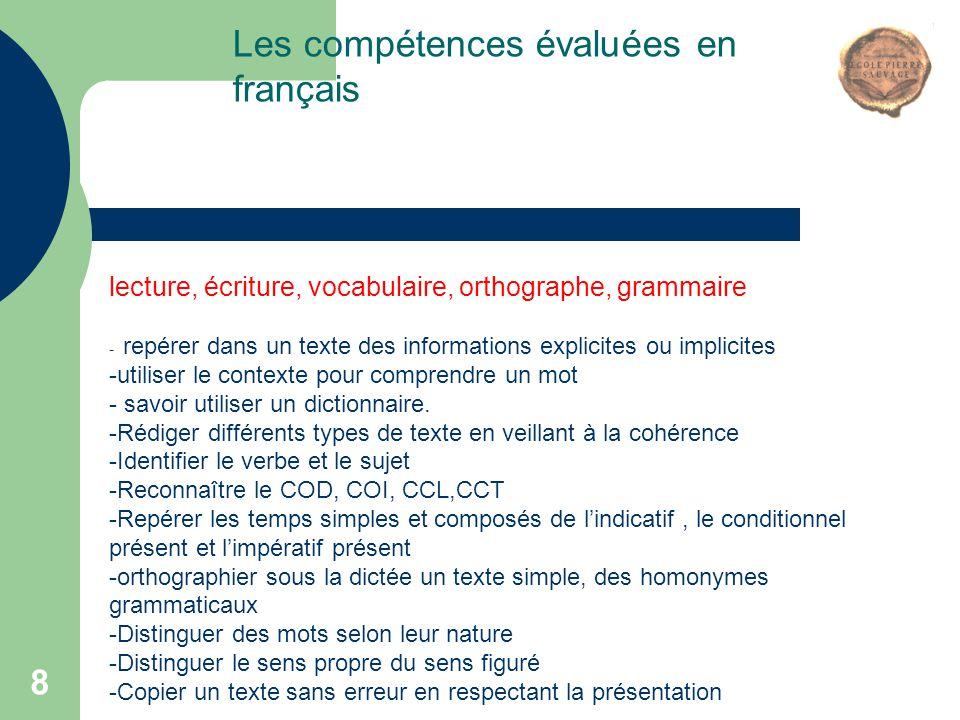 8 Les compétences évaluées en français lecture, écriture, vocabulaire, orthographe, grammaire - repérer dans un texte des informations explicites ou i