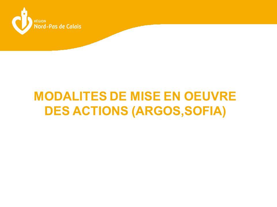 MODALITES DE MISE EN OEUVRE DES ACTIONS (ARGOS,SOFIA)