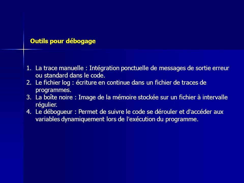 1.La trace manuelle : Intégration ponctuelle de messages de sortie erreur ou standard dans le code. 2.Le fichier log : écriture en continue dans un fi