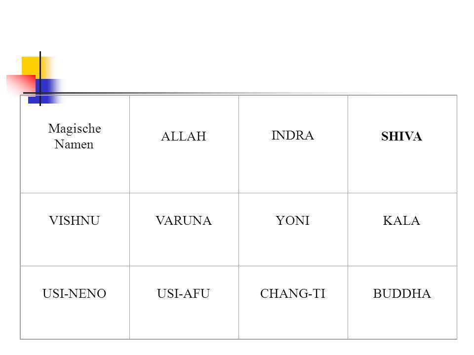 Magische Namen ALLAH INDRA SHIVA VISHNUVARUNAYONIKALA USI-NENOUSI-AFUCHANG-TIBUDDHA
