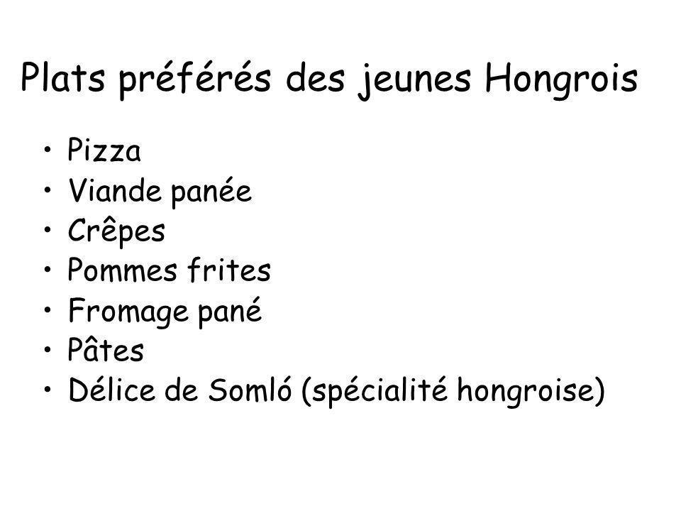 Plats préférés des jeunes Hongrois Pizza Viande panée Crêpes Pommes frites Fromage pané Pâtes Délice de Somló (spécialité hongroise)