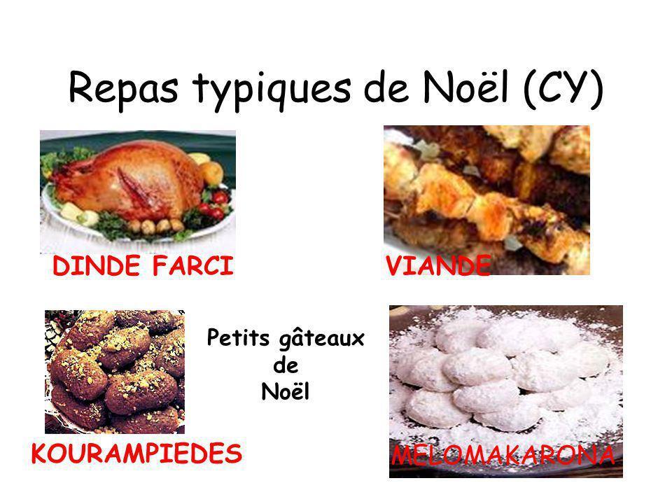Repas typiques de Noël (CY) DINDE FARCIVIANDE KOURAMPIEDES MELOMAKARONA Petits gâteaux de Noël