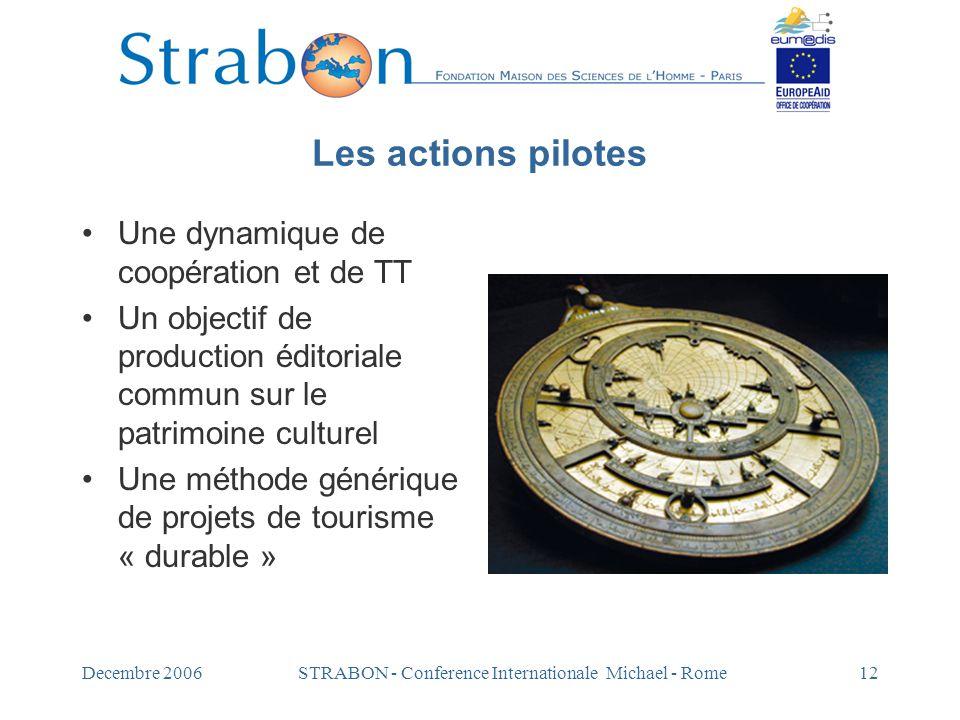 Decembre 2006STRABON - Conference Internationale Michael - Rome12 Les actions pilotes Une dynamique de coopération et de TT Un objectif de production