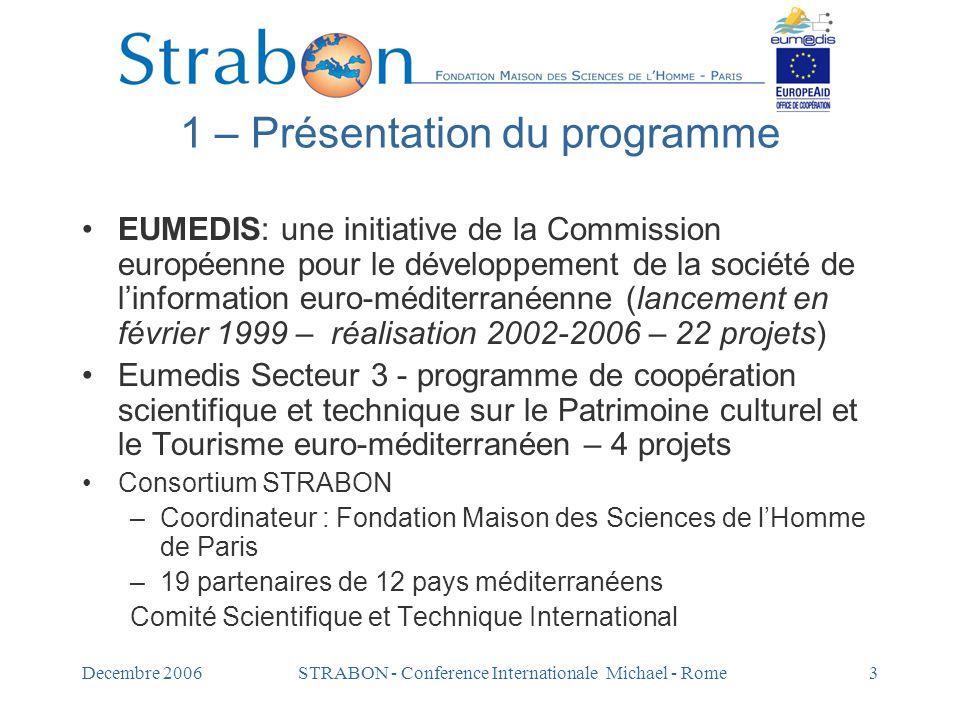 Decembre 2006STRABON - Conference Internationale Michael - Rome4 Objectif de STRABON Créer un rèseau de production de savoir sur le Patrimoine culturel et le Tourisme Valoriser les recherches et les ressources.