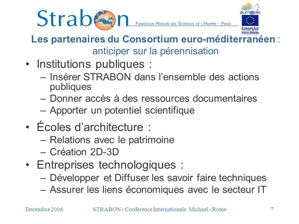 Decembre 2006STRABON - Conference Internationale Michael - Rome7 Les partenaires du Consortium euro-méditerranéen : anticiper sur la pérennisation Ins