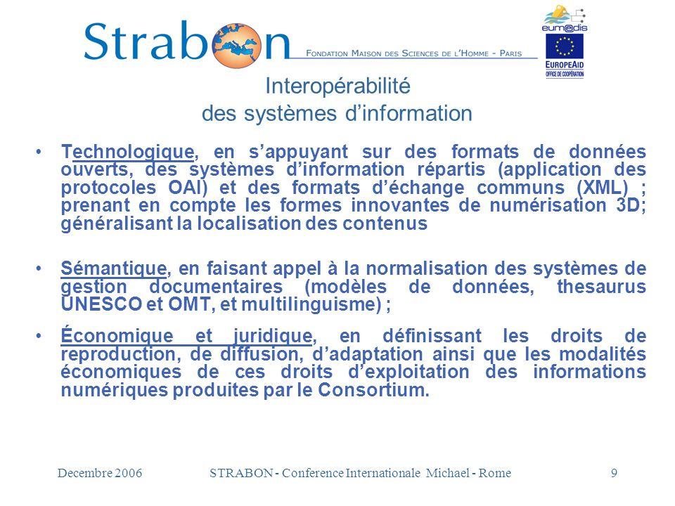 Decembre 2006STRABON - Conference Internationale Michael - Rome9 Interopérabilité des systèmes d'information Technologique, en s'appuyant sur des form