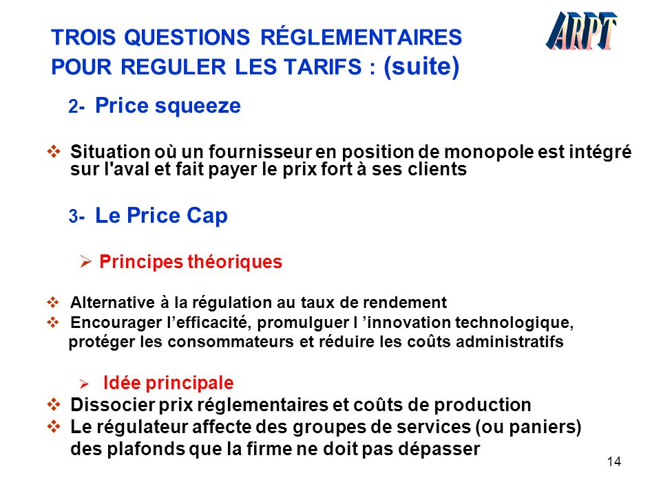14 TROIS QUESTIONS RÉGLEMENTAIRES POUR REGULER LES TARIFS : (suite) 2- Price squeeze  Situation où un fournisseur en position de monopole est intégré