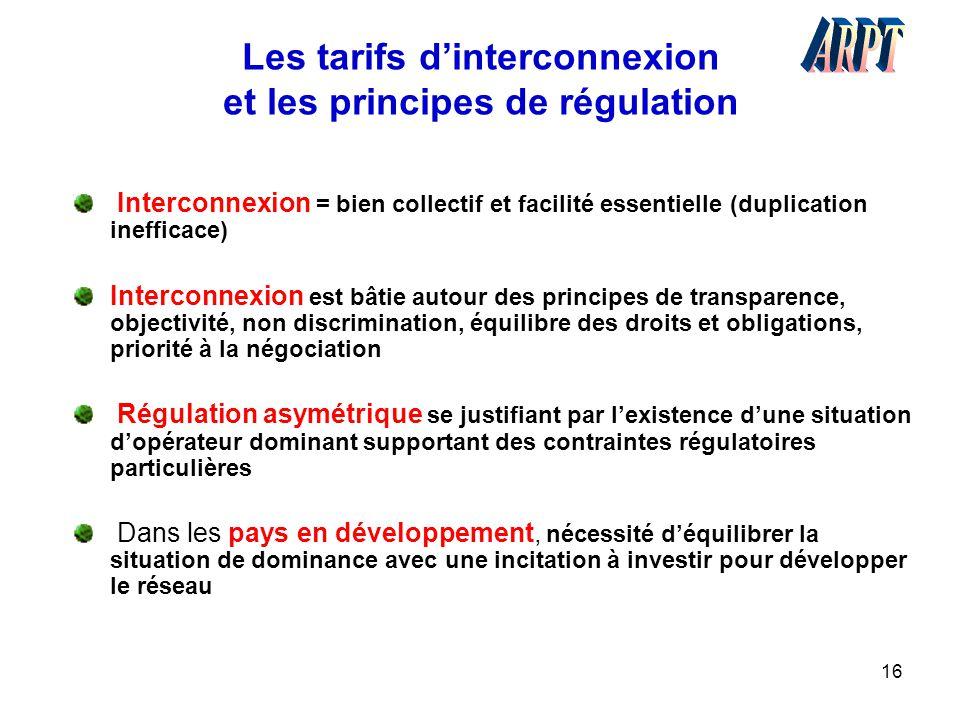 16 Les tarifs d'interconnexion et les principes de régulation Interconnexion = bien collectif et facilité essentielle (duplication inefficace) Interco