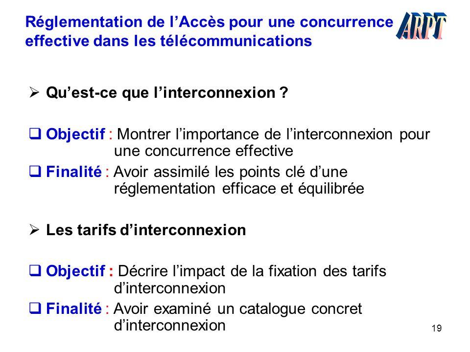19 Réglementation de l'Accès pour une concurrence effective dans les télécommunications  Qu'est-ce que l'interconnexion ?  Objectif : Montrer l'impo