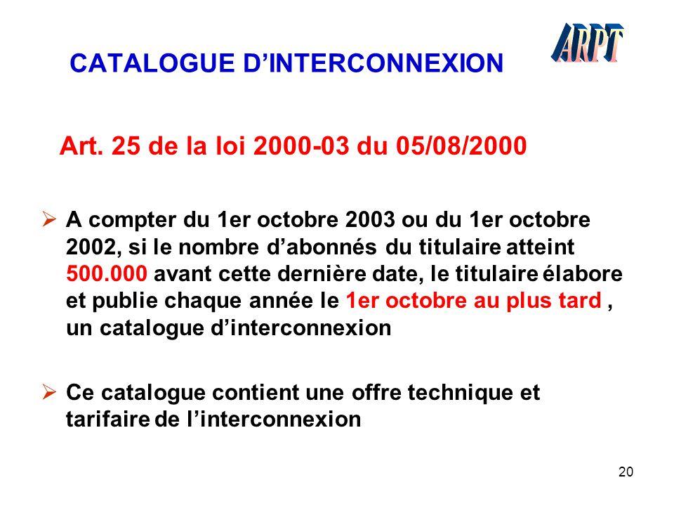 20 CATALOGUE D'INTERCONNEXION Art. 25 de la loi 2000-03 du 05/08/2000  A compter du 1er octobre 2003 ou du 1er octobre 2002, si le nombre d'abonnés d