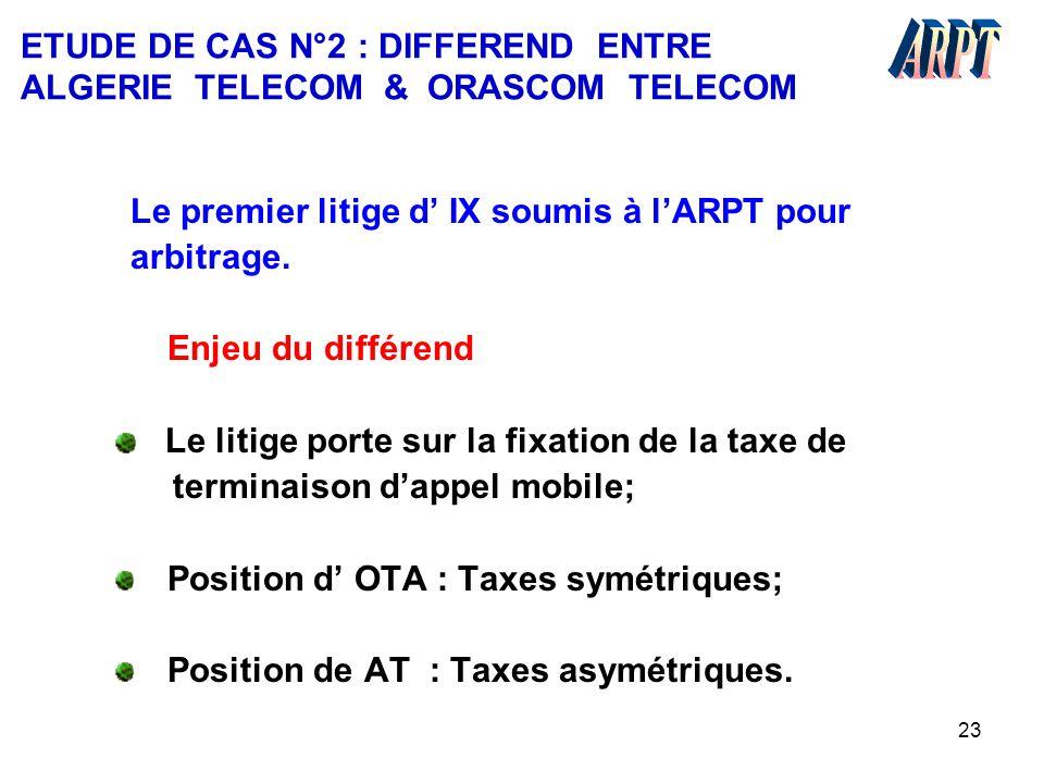 23 ETUDE DE CAS N°2 : DIFFEREND ENTRE ALGERIE TELECOM & ORASCOM TELECOM Le premier litige d' IX soumis à l'ARPT pour arbitrage. Enjeu du différend Le
