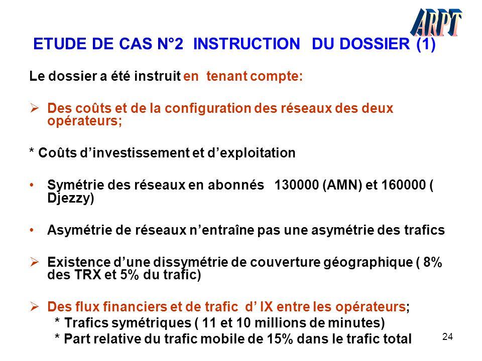 24 ETUDE DE CAS N°2 INSTRUCTION DU DOSSIER (1) Le dossier a été instruit en tenant compte:  Des coûts et de la configuration des réseaux des deux opé