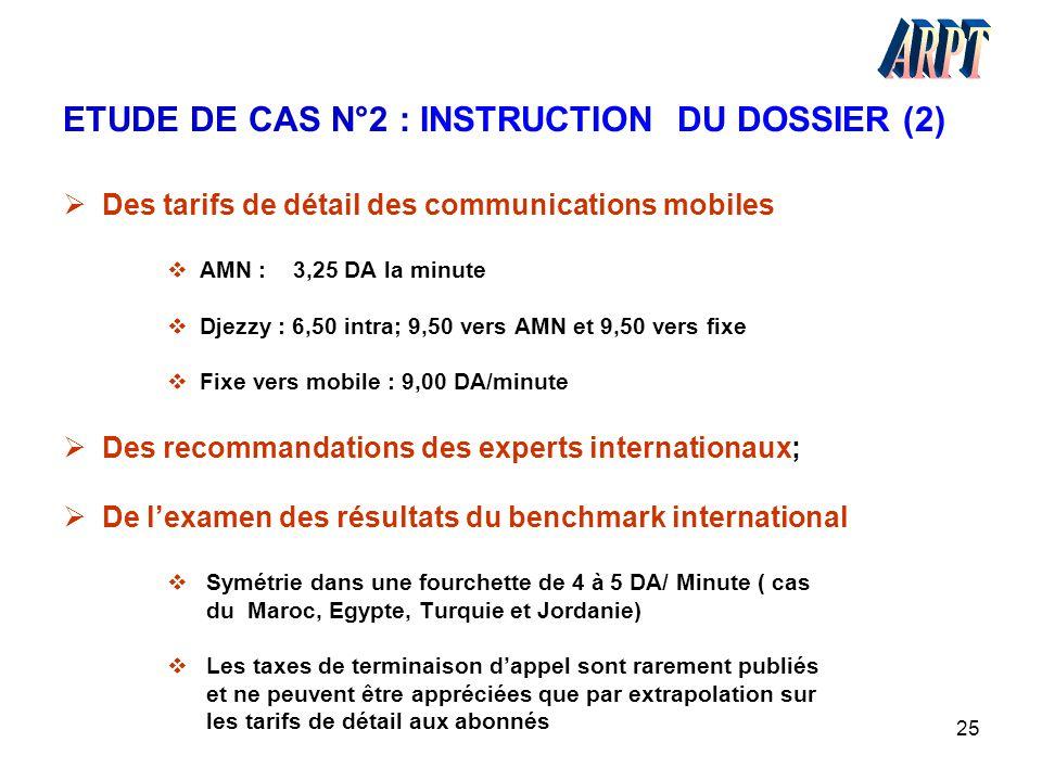 25 ETUDE DE CAS N°2 : INSTRUCTION DU DOSSIER (2)  Des tarifs de détail des communications mobiles  AMN : 3,25 DA la minute  Djezzy : 6,50 intra; 9,