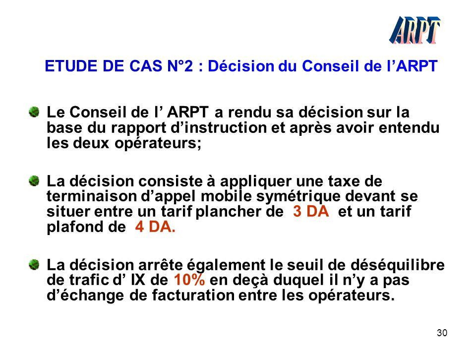 30 ETUDE DE CAS N°2 : Décision du Conseil de l'ARPT Le Conseil de l' ARPT a rendu sa décision sur la base du rapport d'instruction et après avoir ente