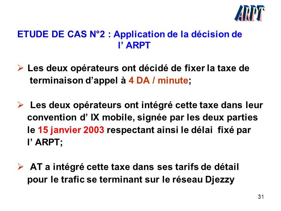 31 ETUDE DE CAS N°2 : Application de la décision de l' ARPT  Les deux opérateurs ont décidé de fixer la taxe de terminaison d'appel à 4 DA / minute;