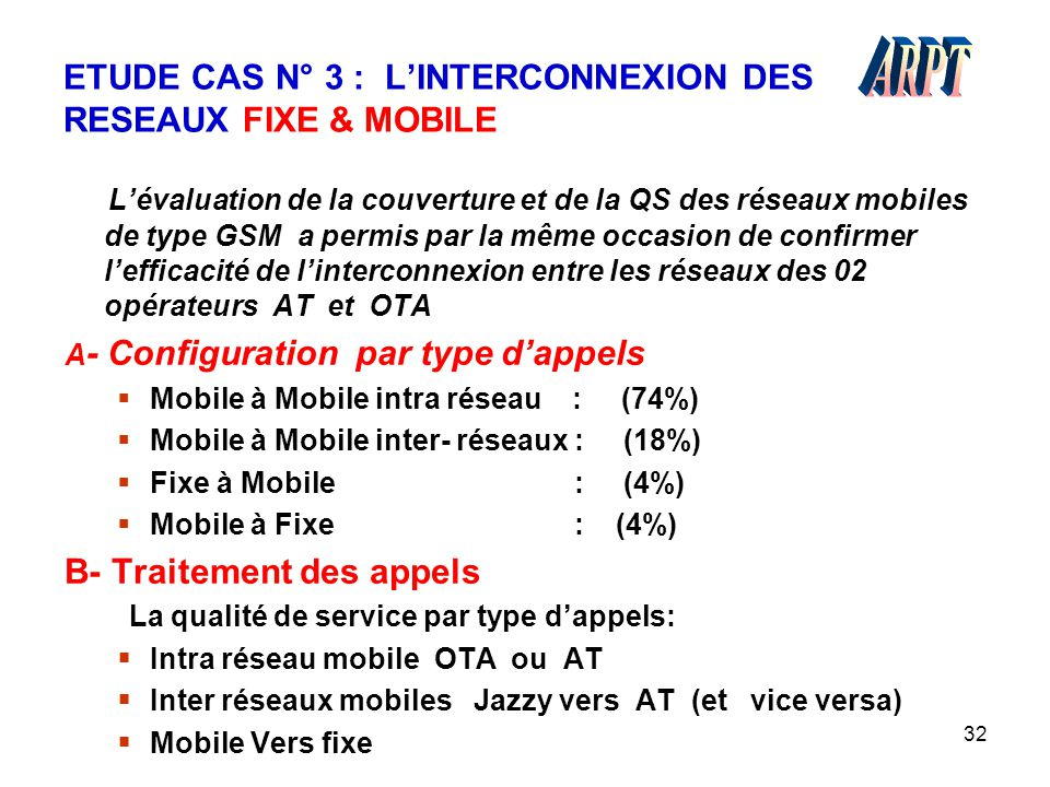 32 ETUDE CAS N° 3 : L'INTERCONNEXION DES RESEAUX FIXE & MOBILE L'évaluation de la couverture et de la QS des réseaux mobiles de type GSM a permis par